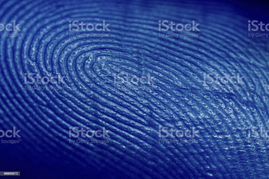 Close up technical photograph of a fingerprint royalty-free stock photo