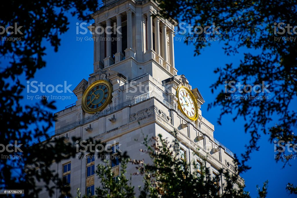 Close up Texas of University at Austin UT Tower stock photo