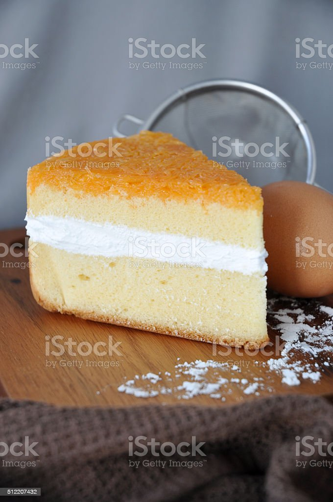 Close up Texture of Golden Layer Cake stock photo