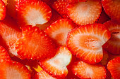 Close up texture of sliced strawberry, rich juicy and fresh.