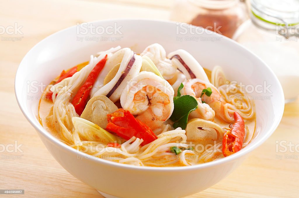 close up thai spicy seafood noodle stock photo