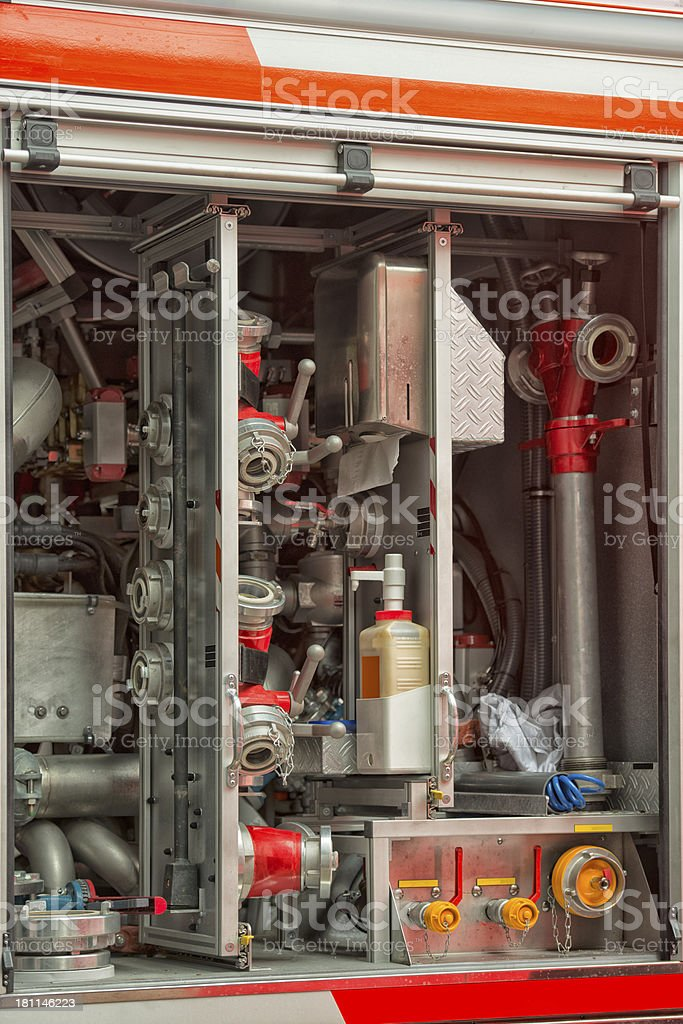 Close up the equipment of a Fire Engine royalty-free stock photo