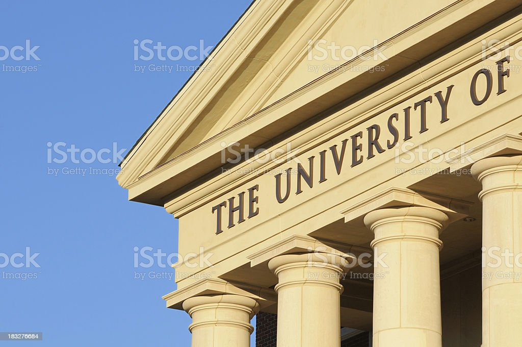 Close up the university of sign royalty-free stock photo