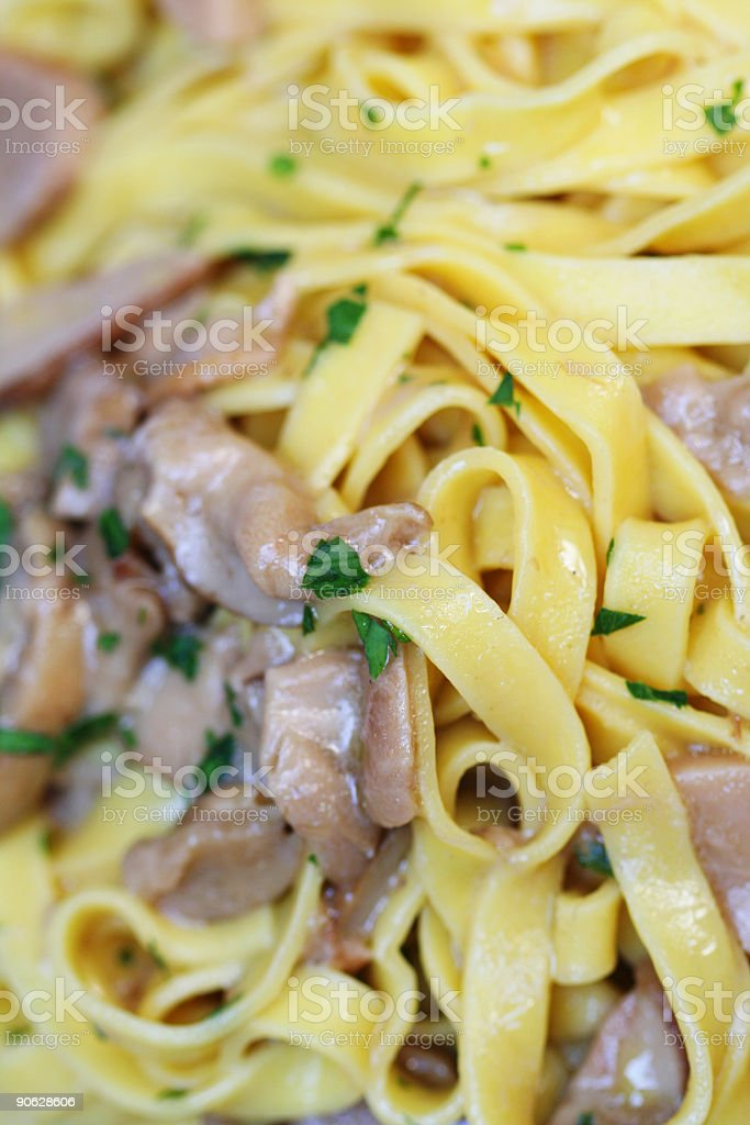 Close up to a dish of tagliatelle stock photo