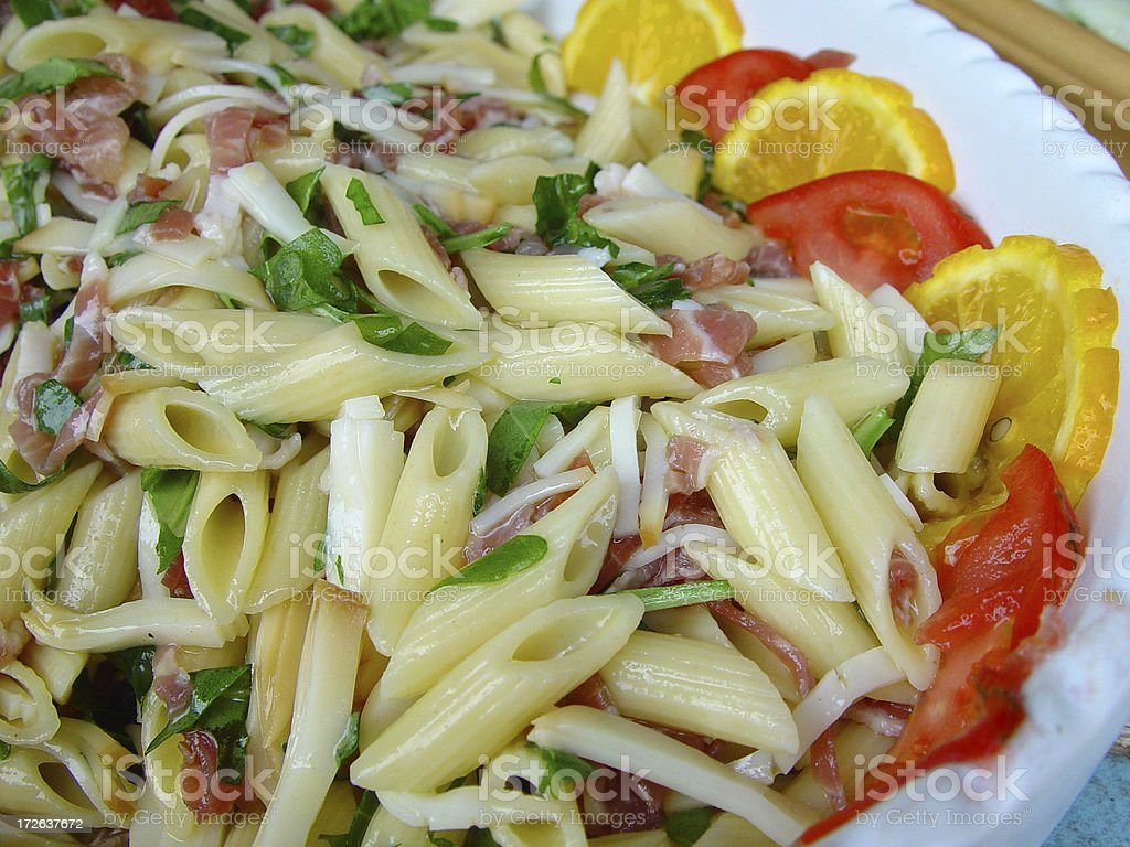 Close up to pasta salad royalty-free stock photo