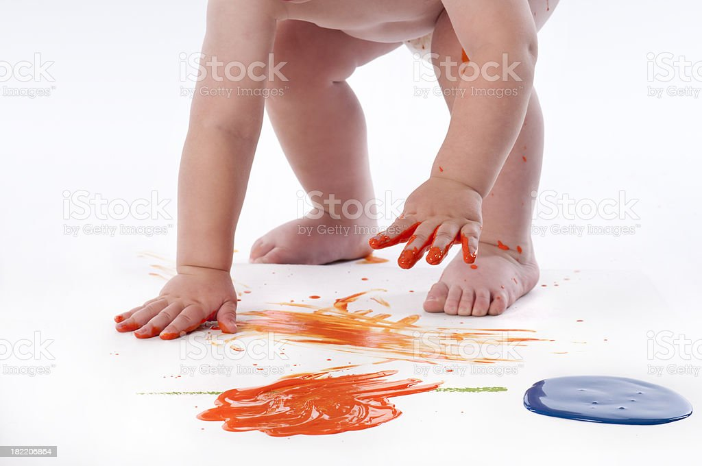 Close Up Toddler Fingerpainting stock photo