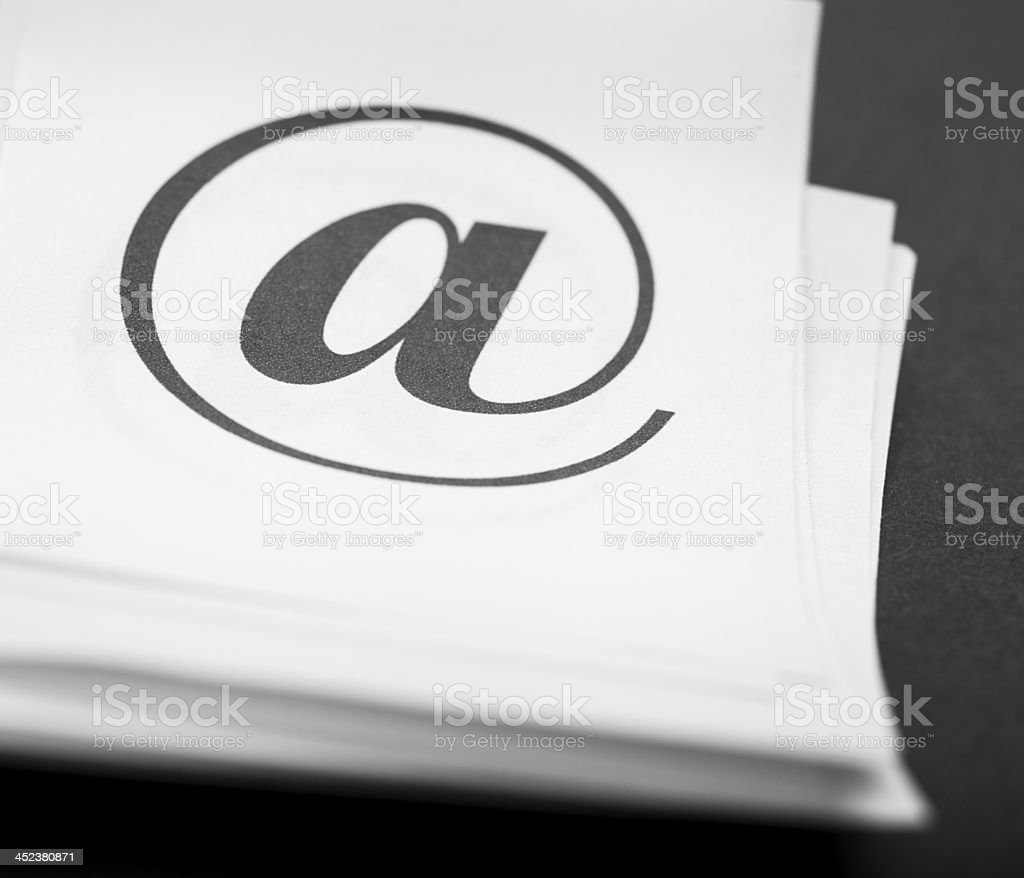Close up too mail sign on paper background, typography royalty-free stock photo