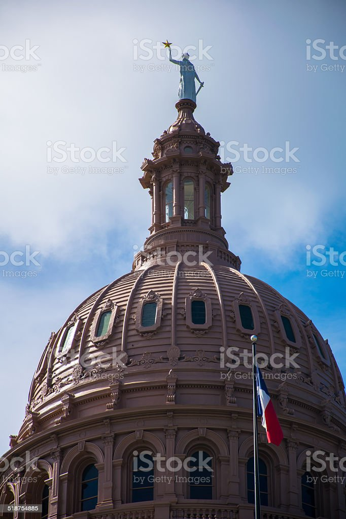 Close Up Top of The Texas State Capitol Building stock photo