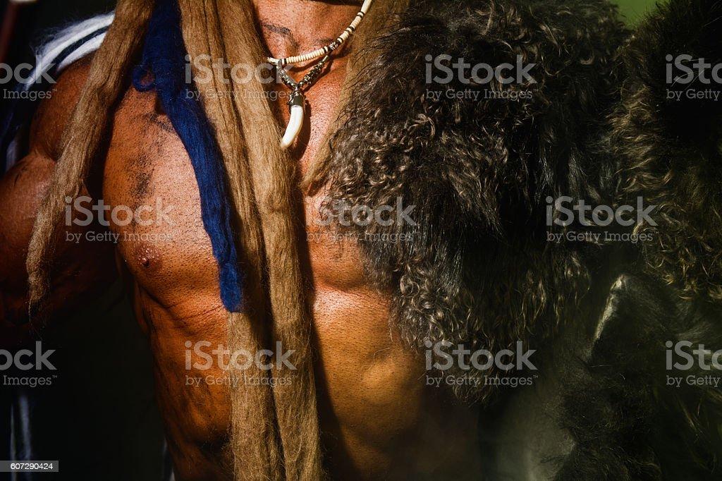Close up torso of a strong man stock photo