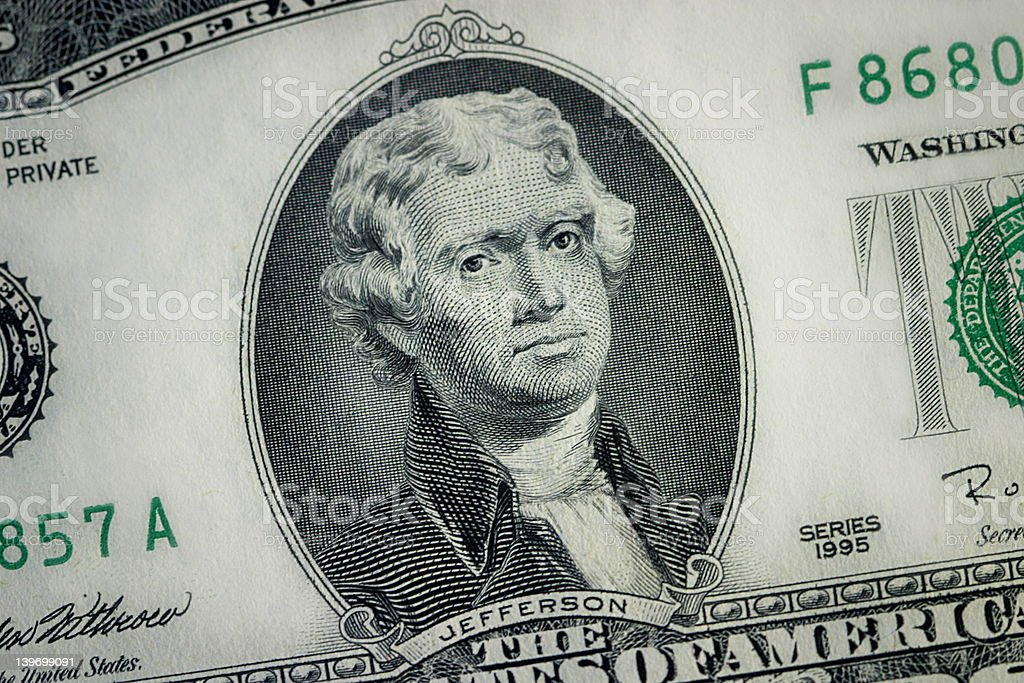 Close Up - Two Dollar Bill royalty-free stock photo