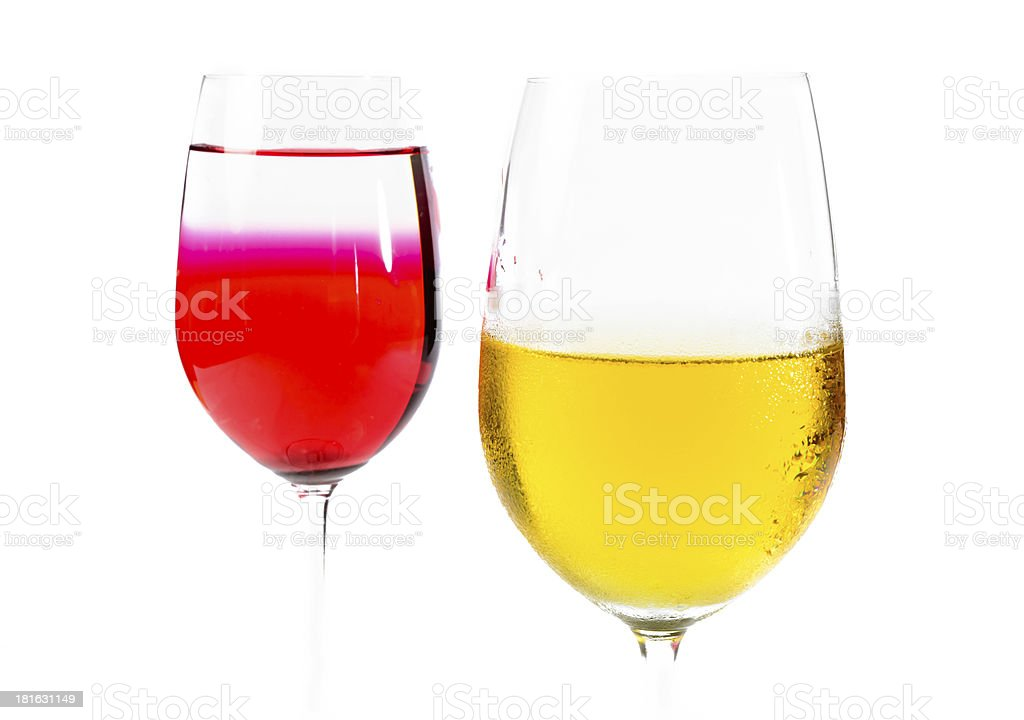 close up two wine glass and colour water royalty-free stock photo