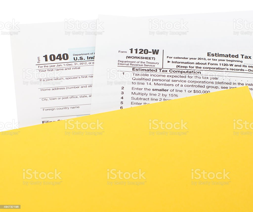 Close - up U.S. income tax form stock photo