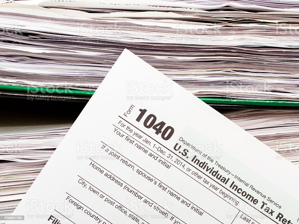 Close up U.S. Individual tax form 1040 stock photo