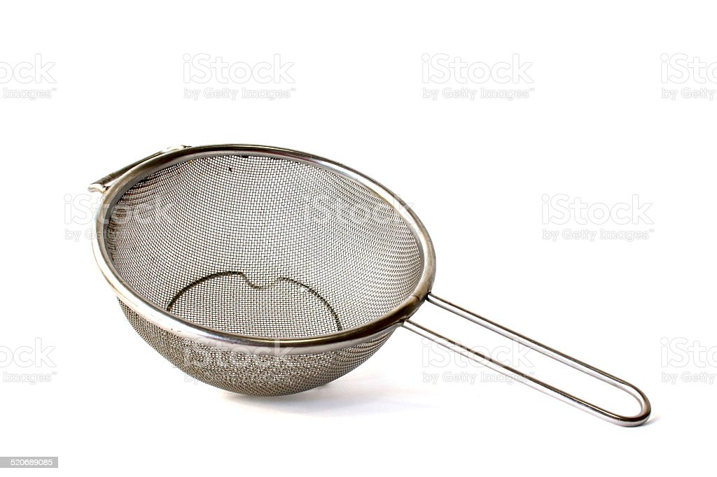 Close up Used Metal sieve isolated on white stock photo
