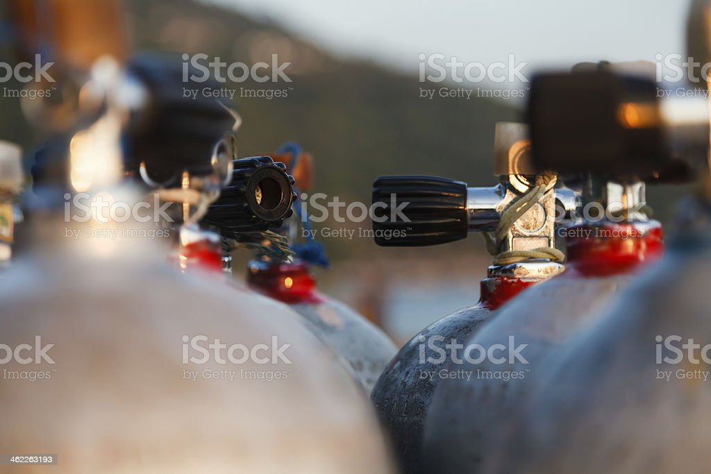 Close up valve of oxygen tank for scuba diving stock photo