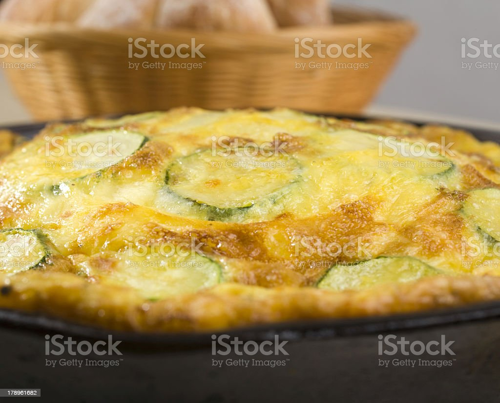Close Up Vegetable Frittata and Bread royalty-free stock photo