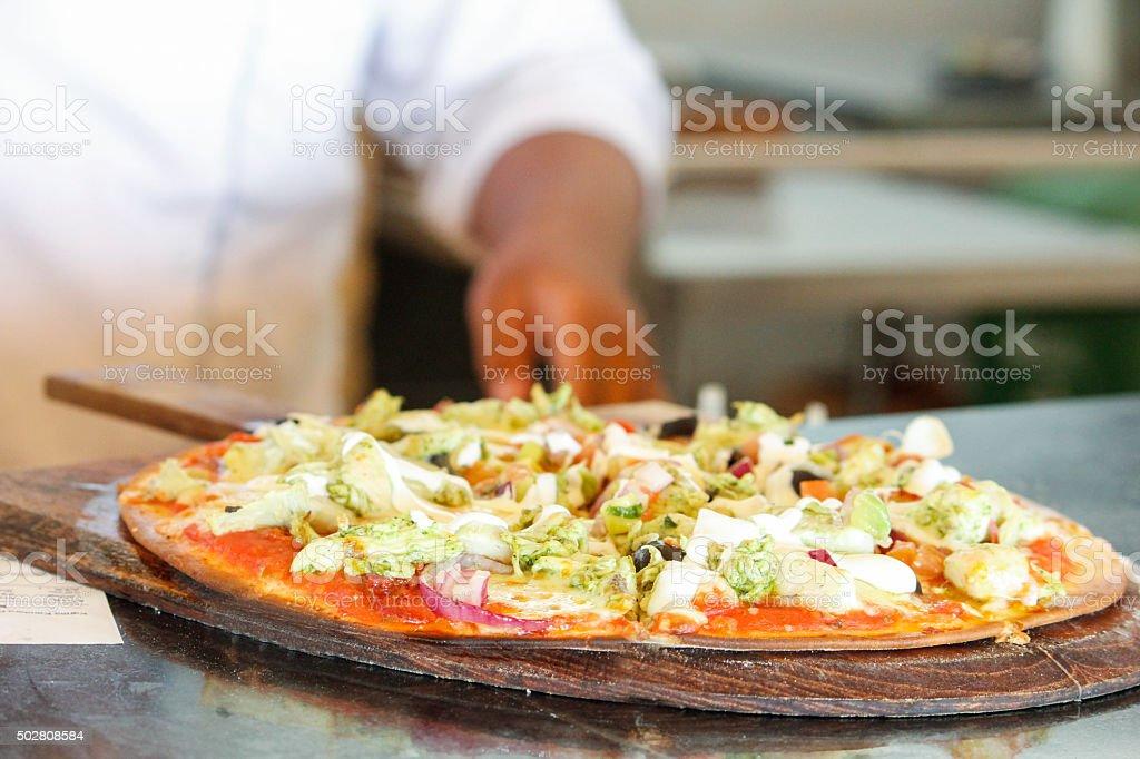 Close up vegetarian pizza stock photo