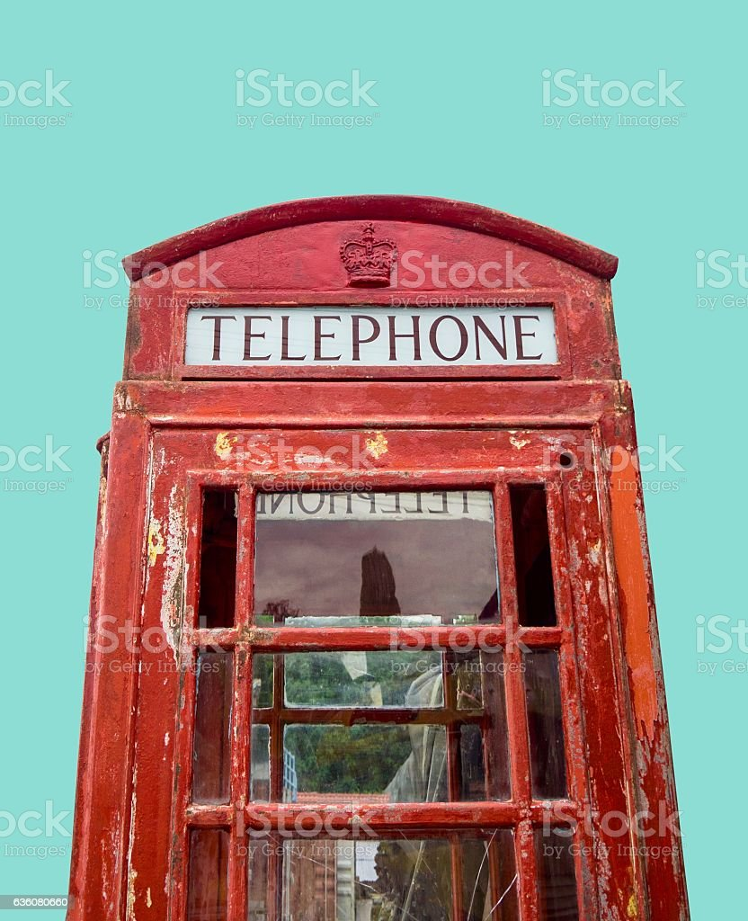 Close up :Very Old  Red Telephone Booth in Junk Yard stock photo
