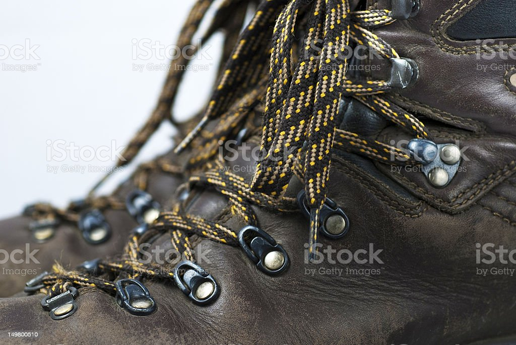 Close up view a pair of hiking boots stock photo