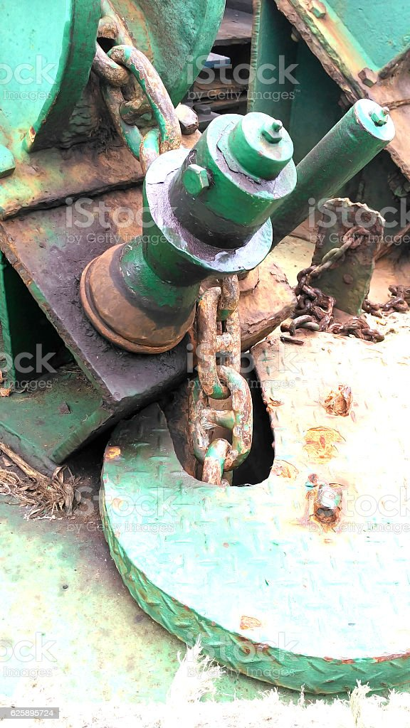 close up view Anchor chain on the tug stock photo