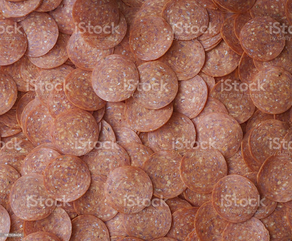 Close up view layers of tasty pepperoni stock photo