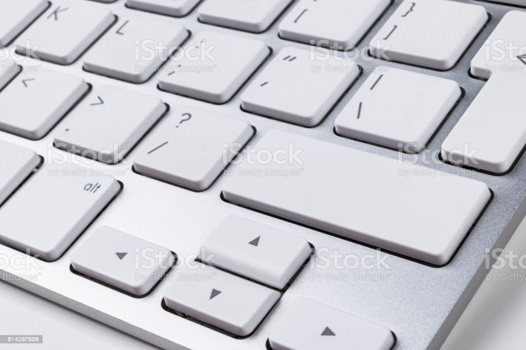 Close up view of a Computer notebook keyboard buttons, technology background, empty space for text stock photo