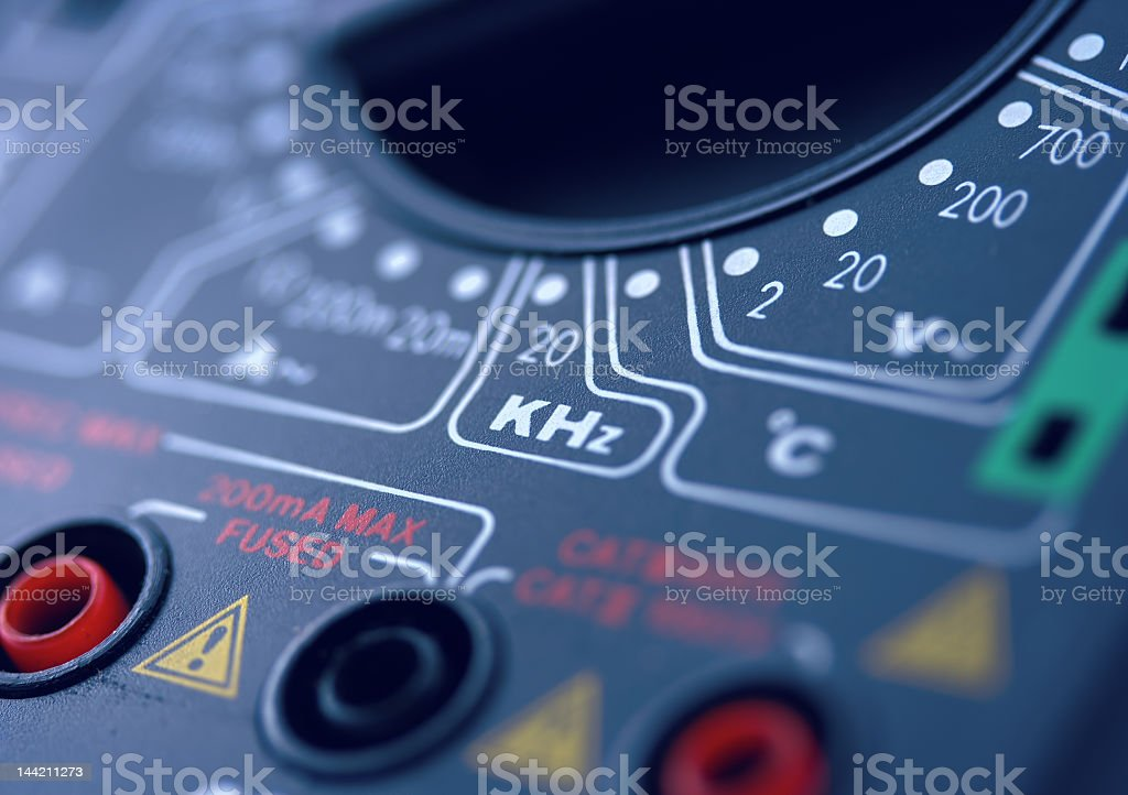 Close up view of a digital multimeter stock photo