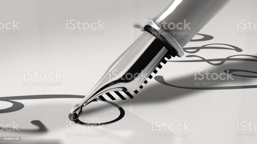 Close up view of a fountain pen writing. 3D Rendering stock photo