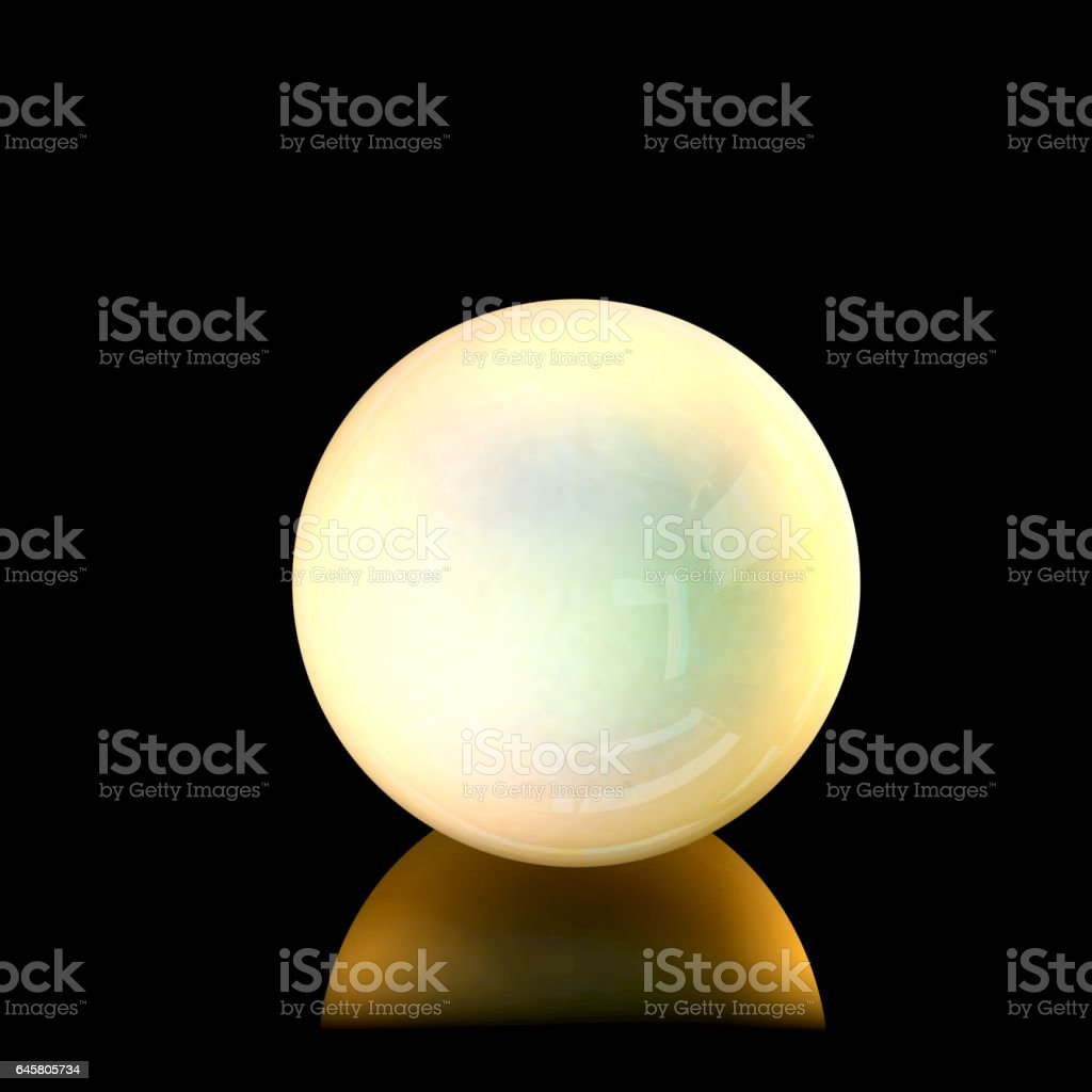 Close up view of a golden pearl. 3D Rendering stock photo