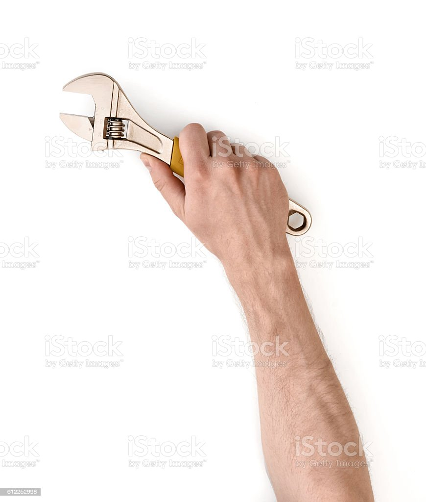 Close up view of a man's hand holding adjustable stock photo