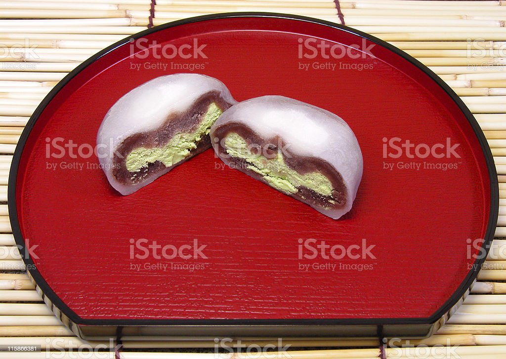 Close up view of a tea ceremony cake on a plate stock photo