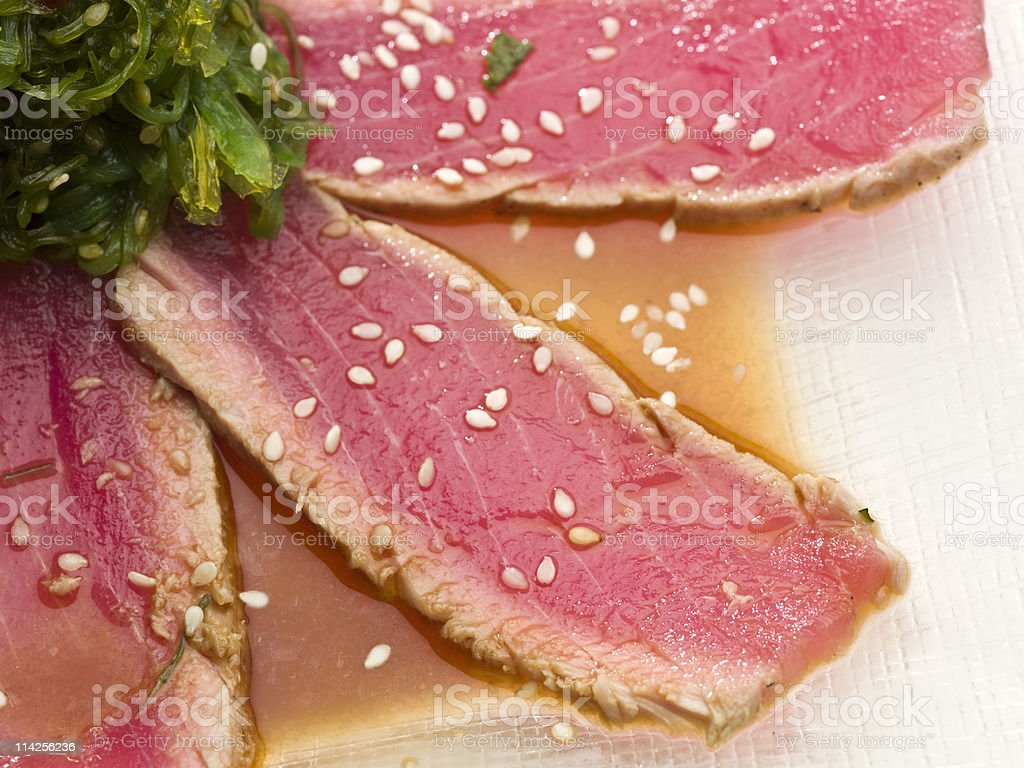 Close up view of Ahi Tuna with sesame on top royalty-free stock photo