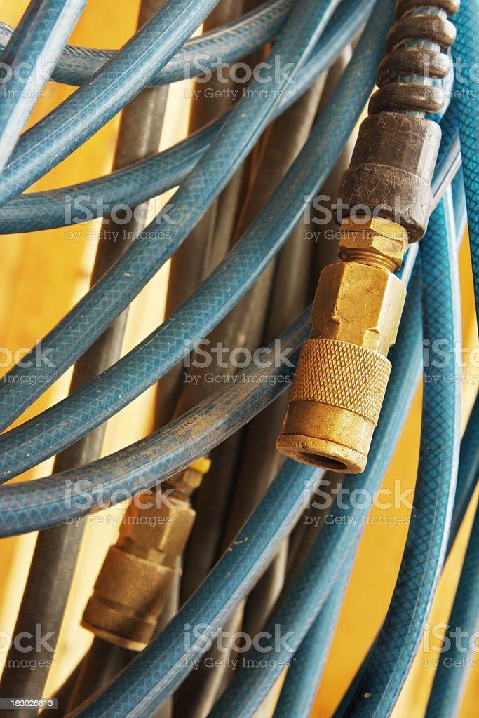 Close up view of air hose valve stock photo