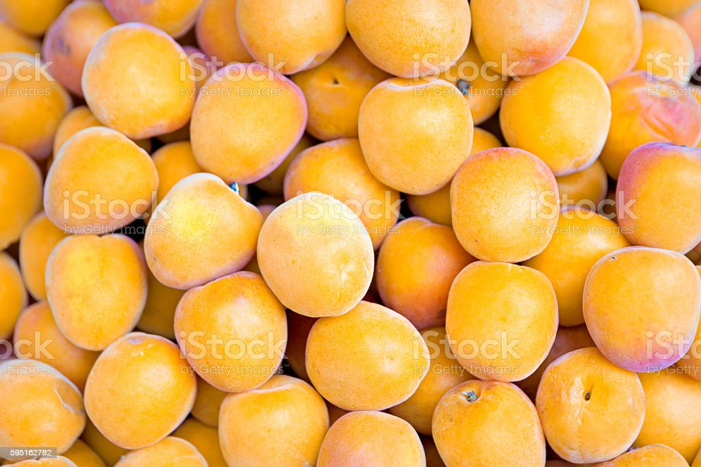 Close up view of apricots on the market stock photo