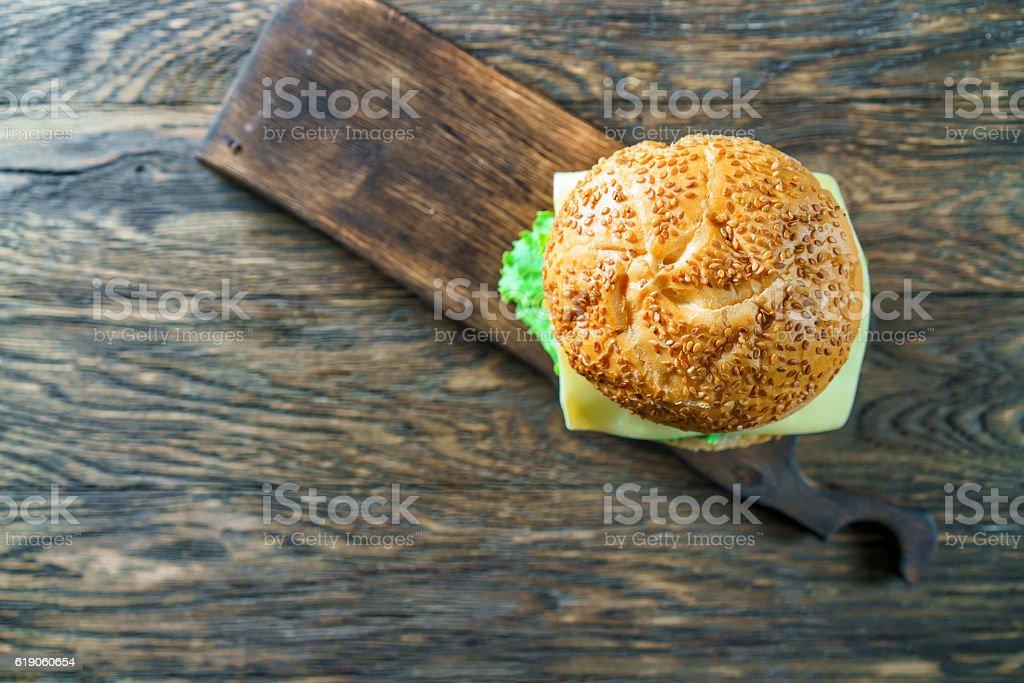 Close up view of assembling a beef hamburger stock photo