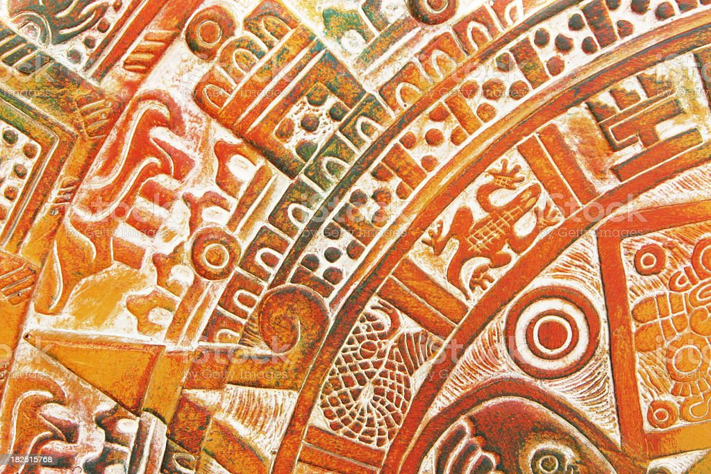 Close up view of Aztec ceramic tile design in brown stock photo