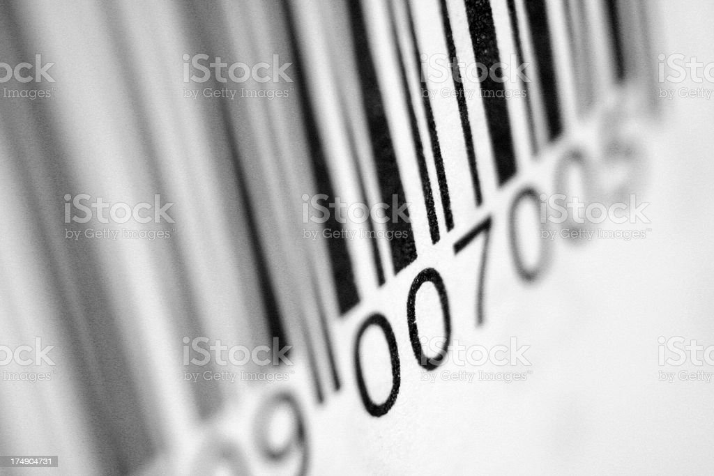 Close up view of bar code with blurred sides stock photo