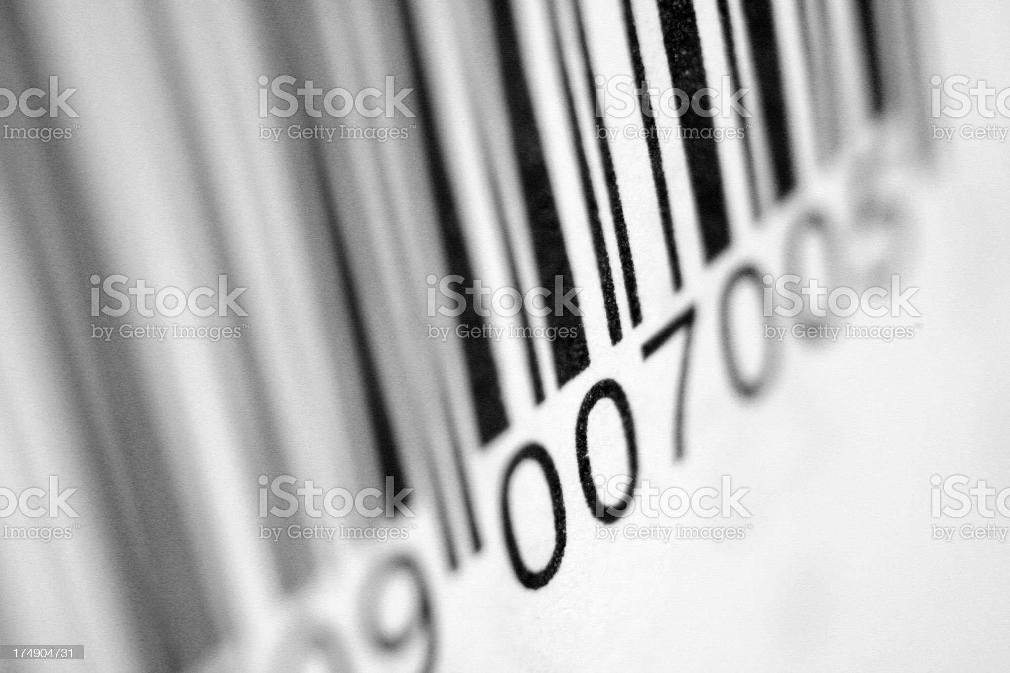 Close up view of bar code with blurred sides royalty-free stock photo