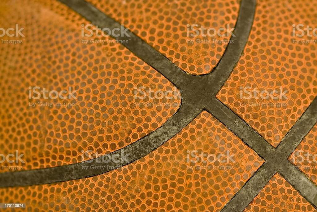 Close up view of basketball seams royalty-free stock photo