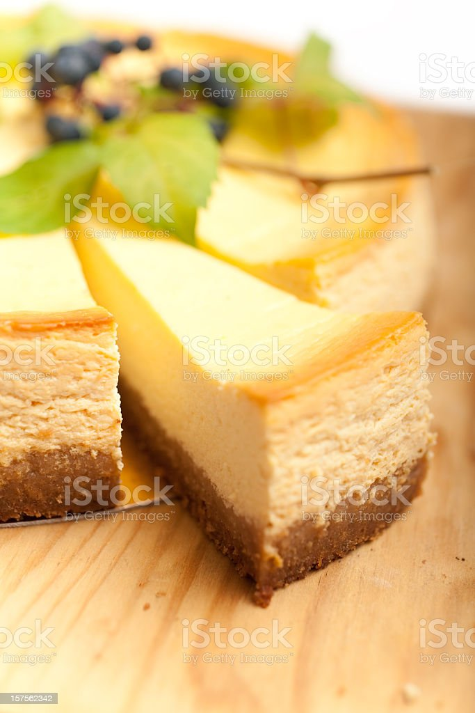 Close up view of cheese cake slice with blurred background stock photo