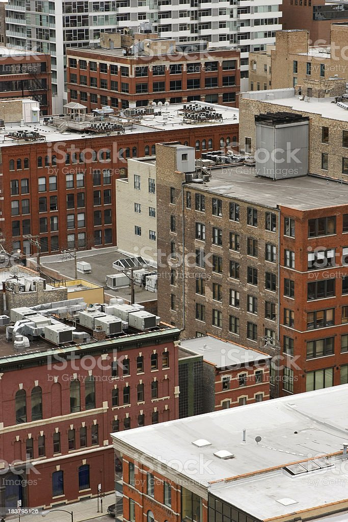 Close up View of Chicago Loft Apartments, Warehouses, and Studios royalty-free stock photo