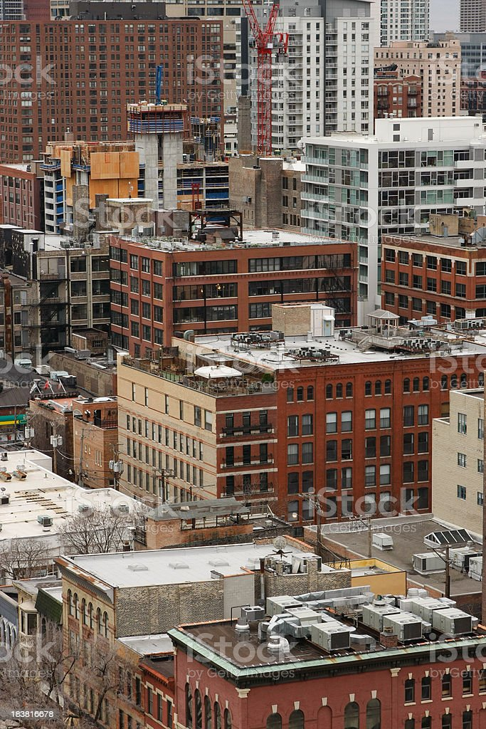 Close up View of Chicago Loft Apartments, Warehouses, and Studios stock photo
