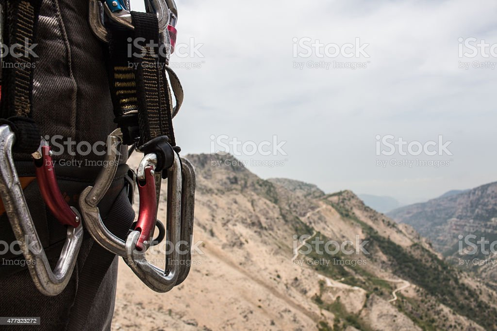 Close Up View of Climbing Gear stock photo