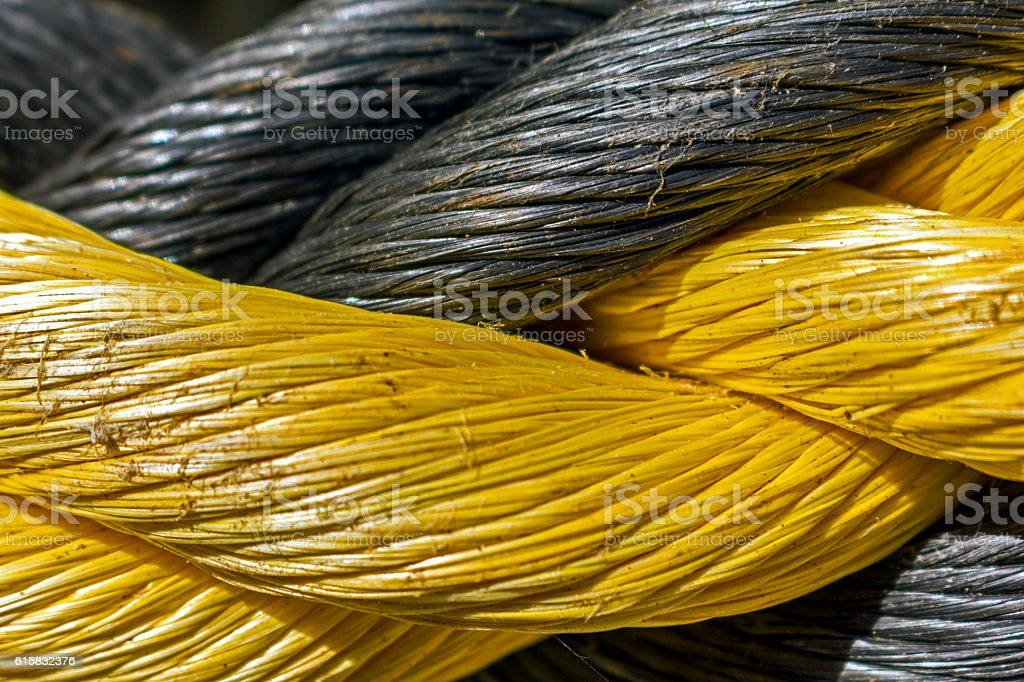 Close Up View Of Coiled Rope stock photo