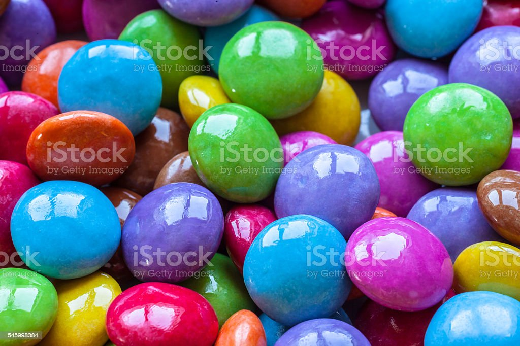 Close up view of colorful chocolate beans stock photo