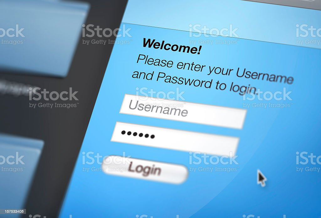 Close up view of computer screen on website login page stock photo