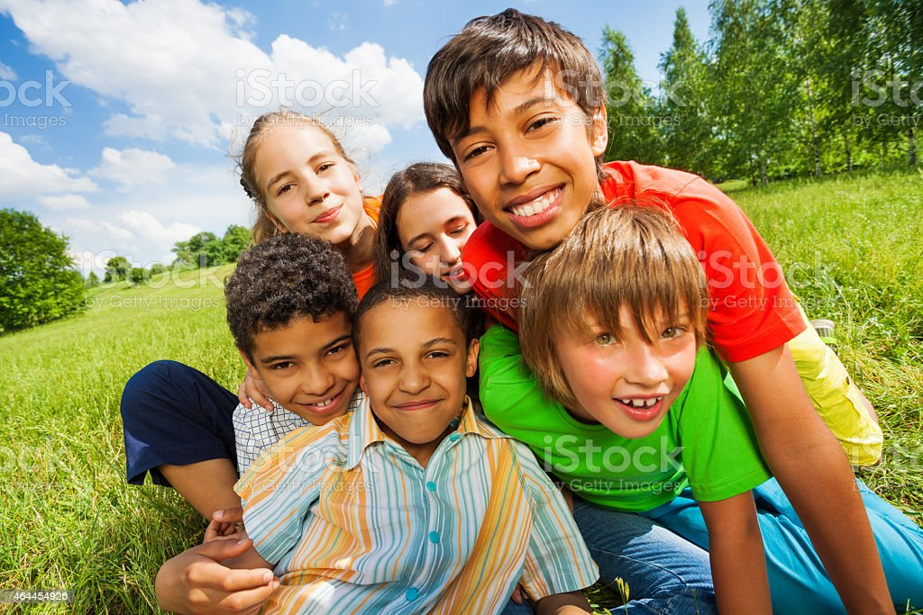 Close up view of happy smiling kids stock photo