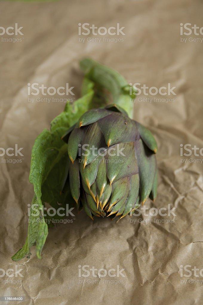 Close up view of Italian organic Artichoke royalty-free stock photo