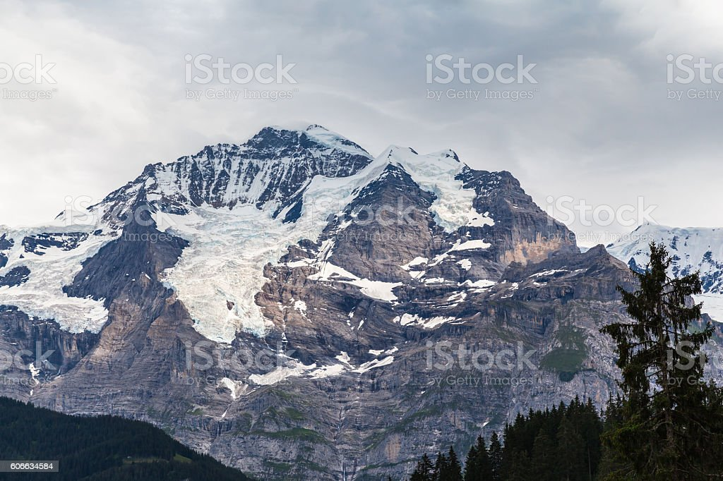 Close up view of Jungfrau from Murren stock photo