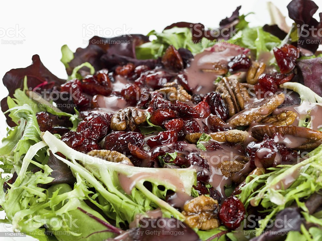 A close up view of lettuce spring mix with other ingredients stock photo